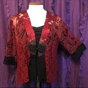 Lace Velvet Brocade Patchwork Kimono Cardigan